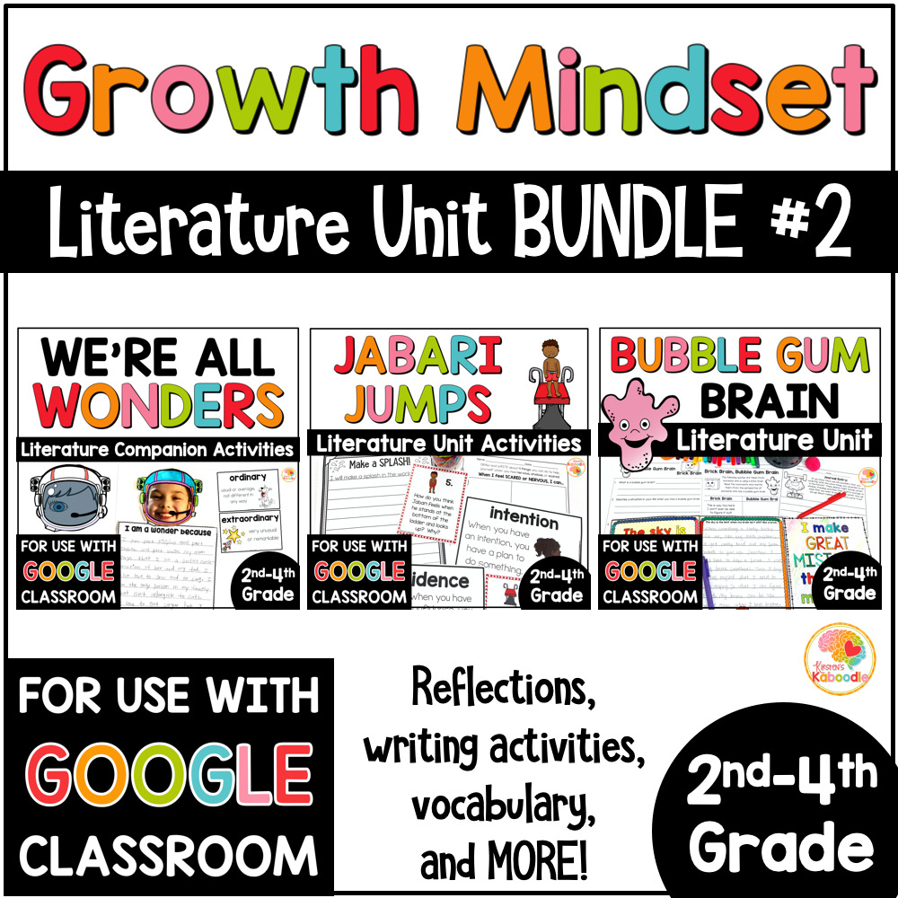 Growth Mindset Picture Book Activities BUNDLE 2 COVER