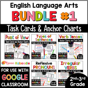 ELA Task Cards Bundle for 2nd and 3rd Grade with Digital Option in Google COVER