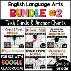 ELA MEGA BUNDLE Task Cards for 2nd and 3rd grade with digital option COVER