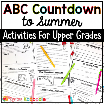 Alphabet Countdown to Summer Activities for Upper Grades