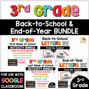 Back to School and End of Year Activities and Letters Bundle for 3rd Grade COVER
