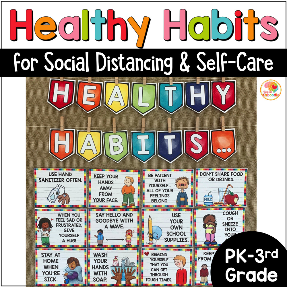 Self-Care and Social Distancing Posters Bulletin Board COVER